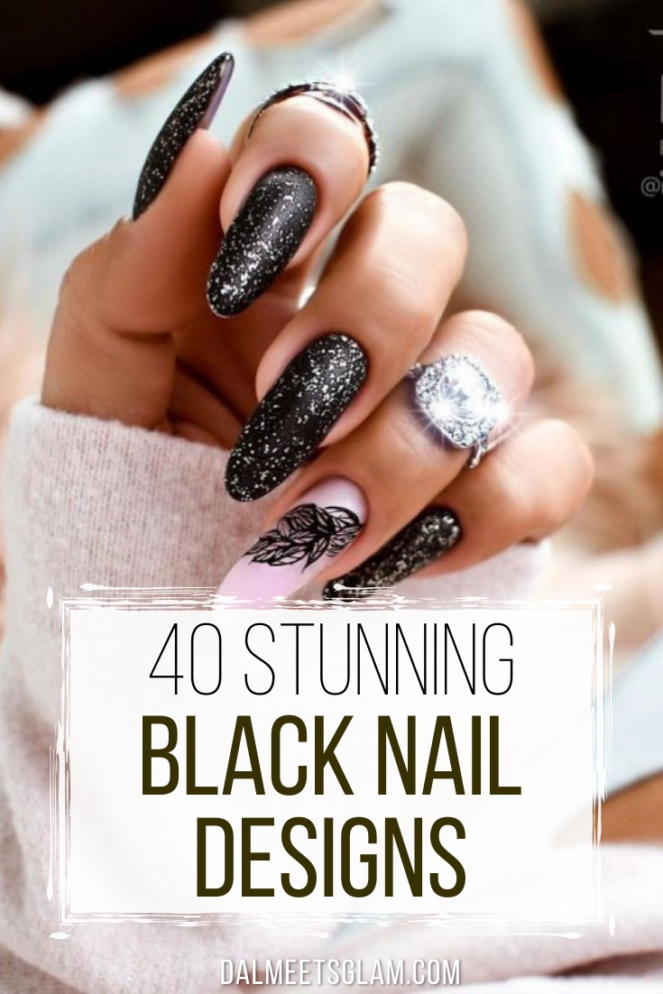 Steal These 40+ Cute Black Nail Designs For An Elegant Look